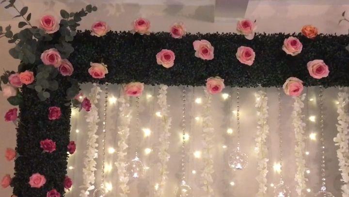 DIY- boxwood backdrop decor