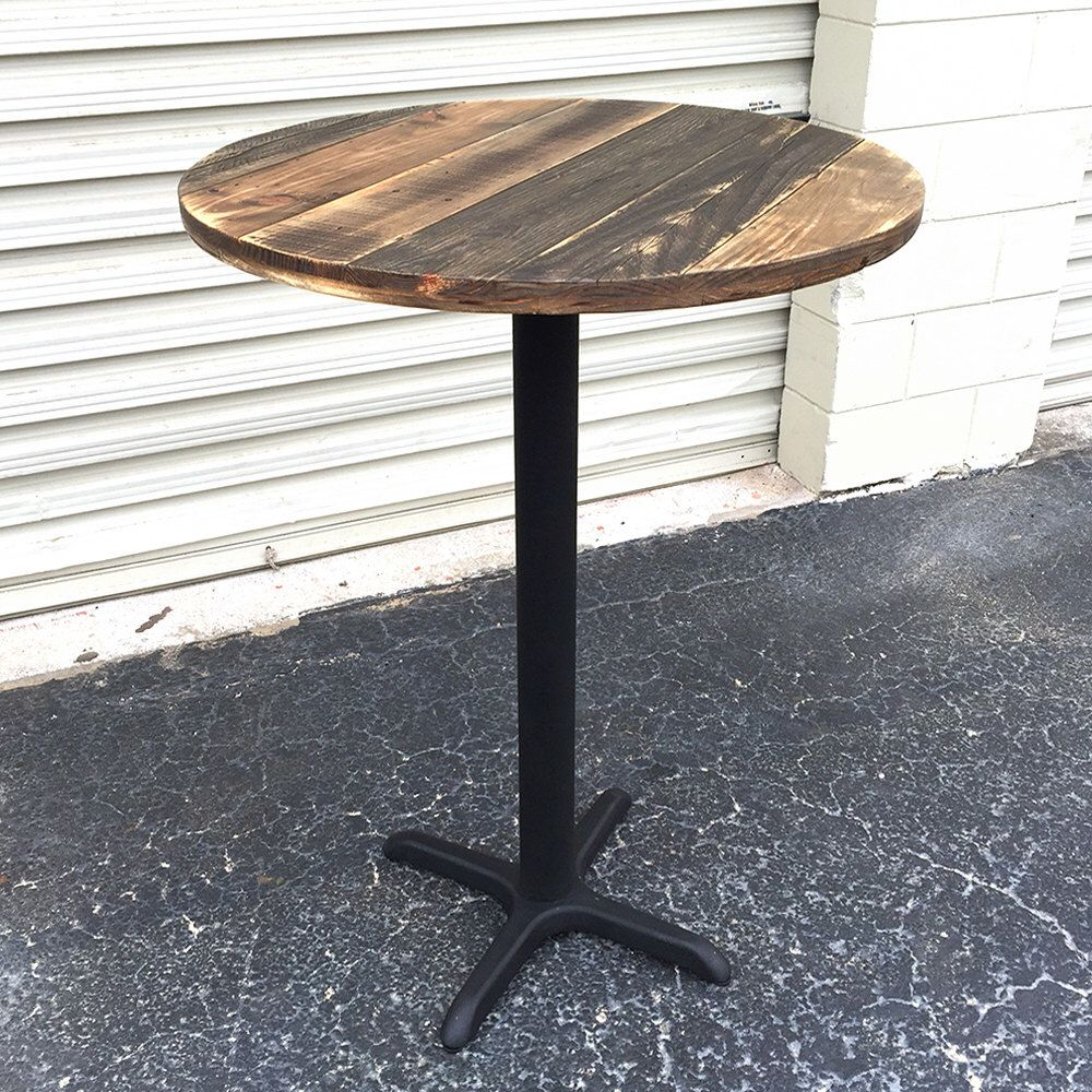 free shipping reclaimed wood round bar table pub patio