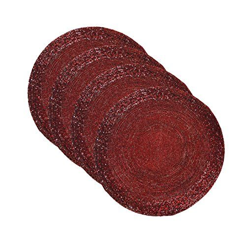 DakshCraft Handmade Maroon Beaded Round Ethnic Placemat Tablemat