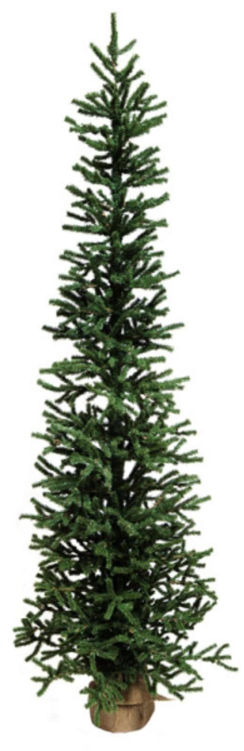 Pack of 2 Slim Artificial Pine Christmas Tree with Burlap Base 5