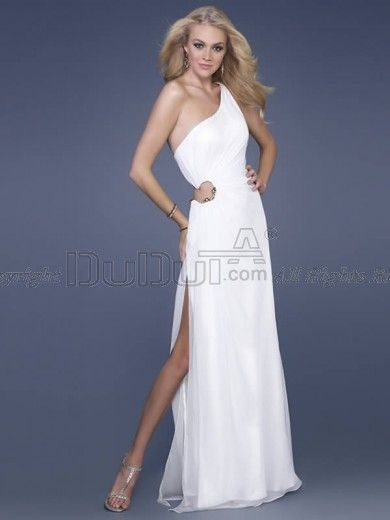 Sheath/Column Chiffon One shoulder Natural Floor-length Side Cut-Out Split Front Prom Dresses, Prom Dresses