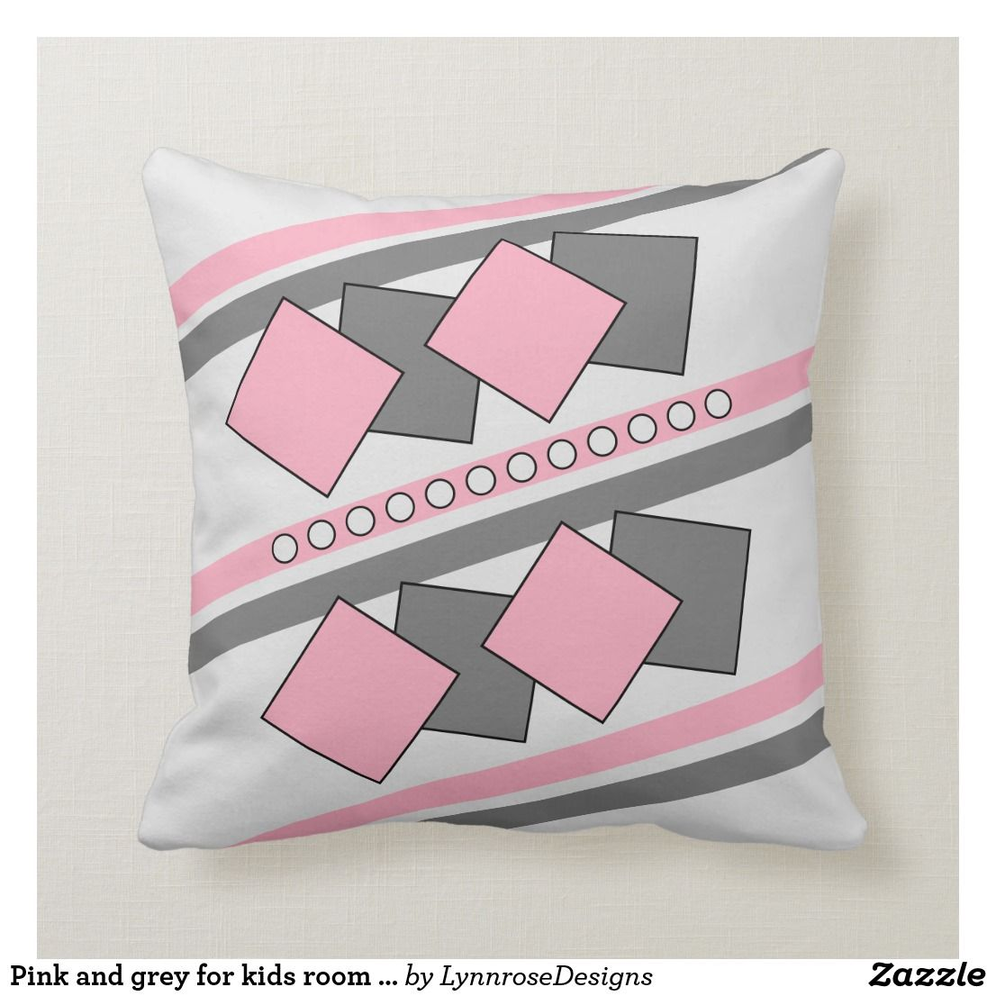 Pink And Grey For Kids Room Stripes And Squares Throw Pillow