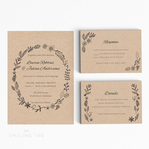 Wedding Invitation Printable Suite Printable -Rustic Wedding