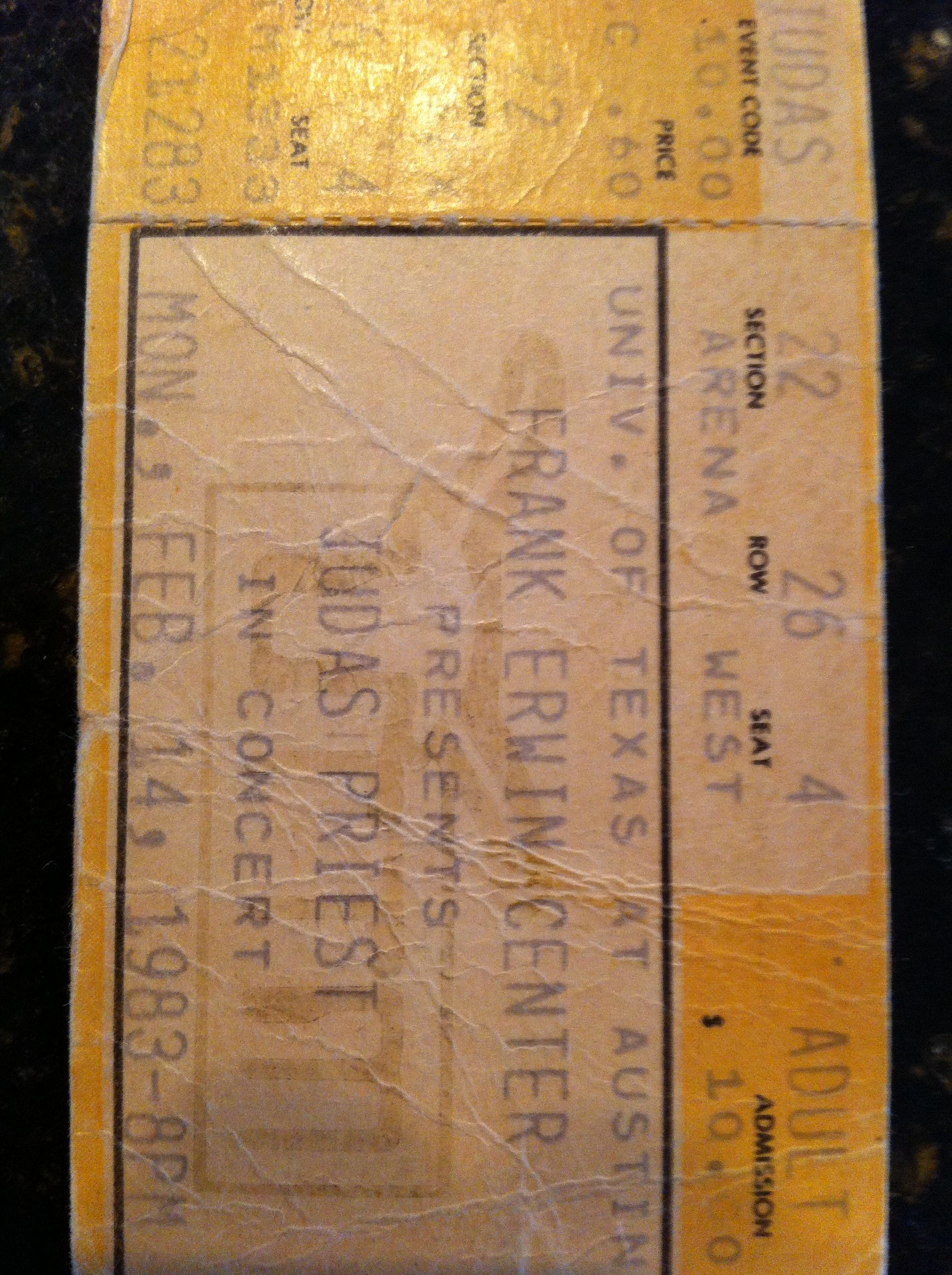 Ticket stub from the Judas Priest concert on February 14th 1983 at the Frank Erwin Center in Austin This was the Screaming for Vengeance Tour