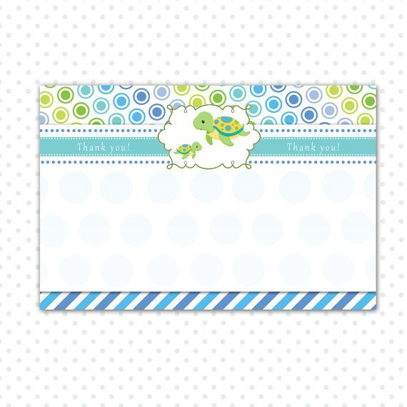 Turtle Thank You Card Turtle Thank You Note Turtle Baby Etsy Baby Boy Shower Favors Turtle Baby Shower Baby Shower Greeting Cards