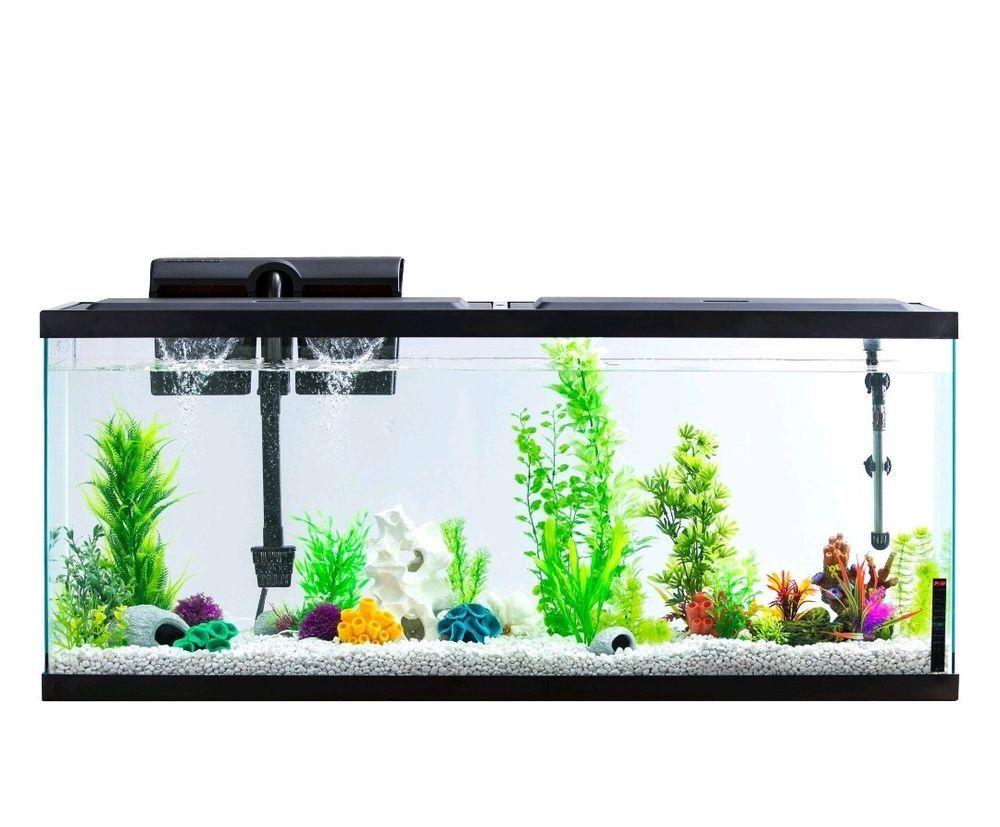 55 Gallon Aquarium Fish Tank Full Starter Kit Led Lights Filter Hood Pet 55 Gallon Aquarium Aqua Culture Fish Tank