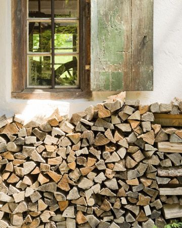 Stack and cover firewood close at hand