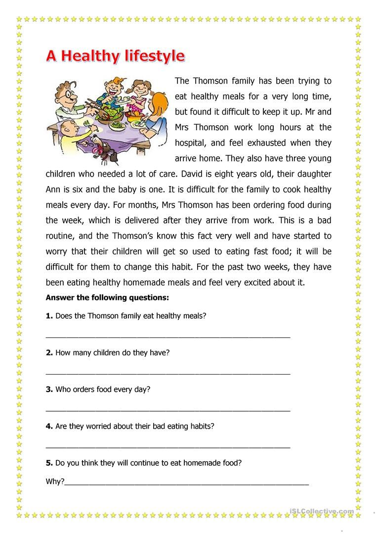 - A Healthy LifeStyle Reading Comprehension Worksheets, Reading