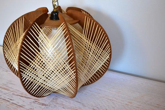 Vintage+Swag+Light,+1960s+String+Art+Wood+and+Straw+Overhead+Ceiling+Light+with+Chain,+Cord,+Plug,+Mid+Century+Lighting