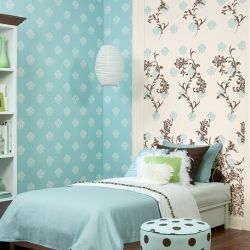 Wallpaper As An Accent Wall Has Always Been A Bright Idea With Me. Blue Girls  BedroomsTeen ...