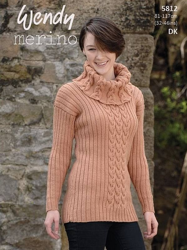 Wendy 5812 Cable & Rib Polo & Cowl Sweaters | Sweater knitting ...