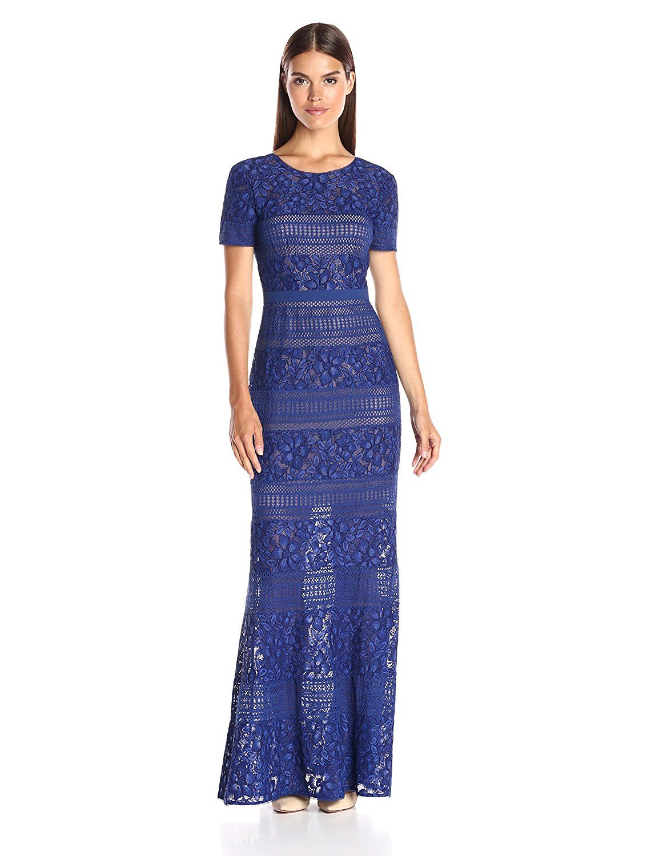 Amazon bcbgmax azria womenus ivetta long lace gown clothing