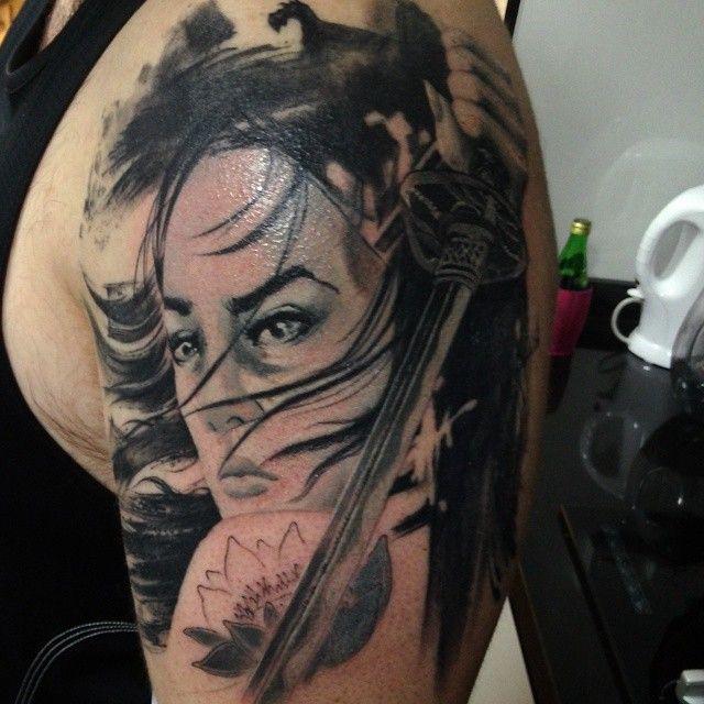 Japanese tattoo irezumi arm half sleeve geisha chick - Tattoos geishas japonesas ...