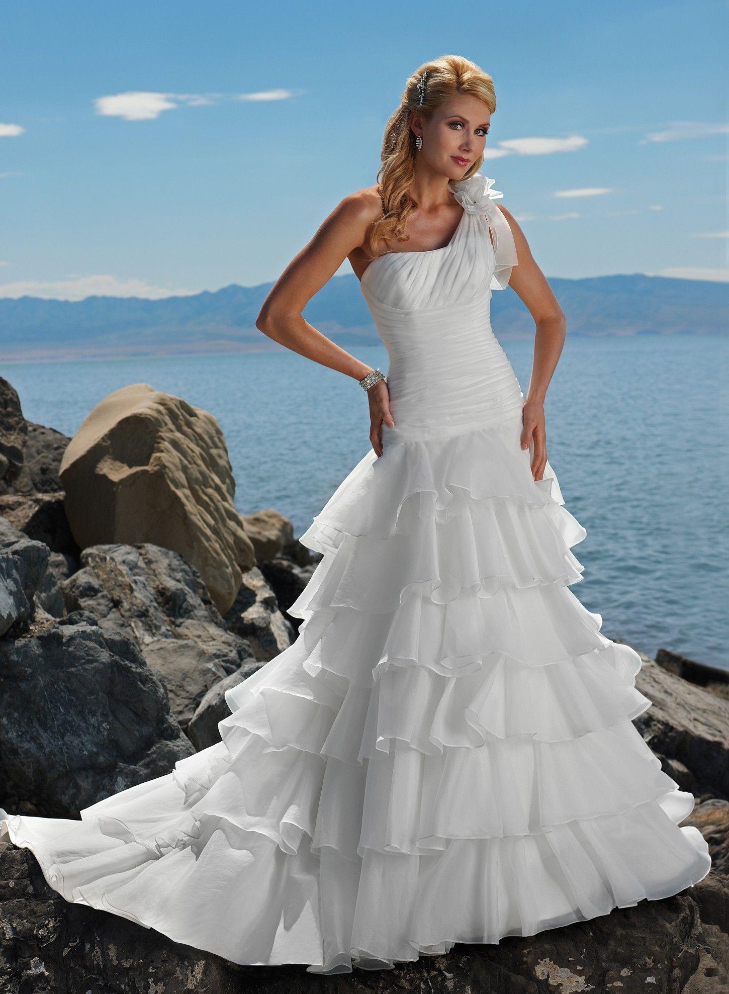 Organza One-shoulder Neckline A-line Wedding Dress | Wedding | Pinterest