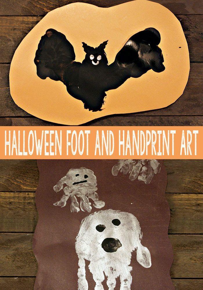Halloween Handprint and Footprint Art Footprint art, Footprints - simple halloween decorations to make