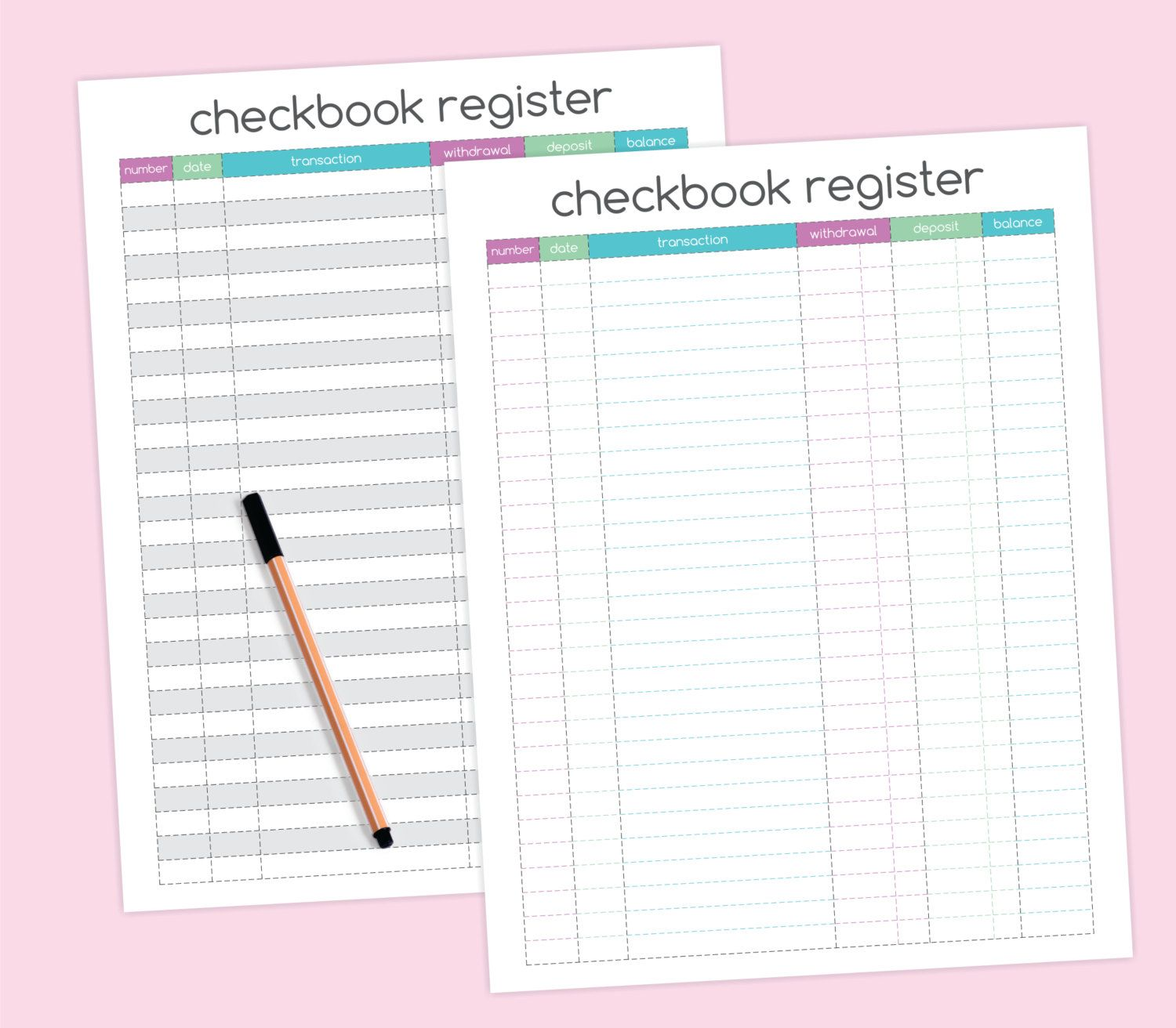 Checkbook Register Printable Organize Finances Teal Purple