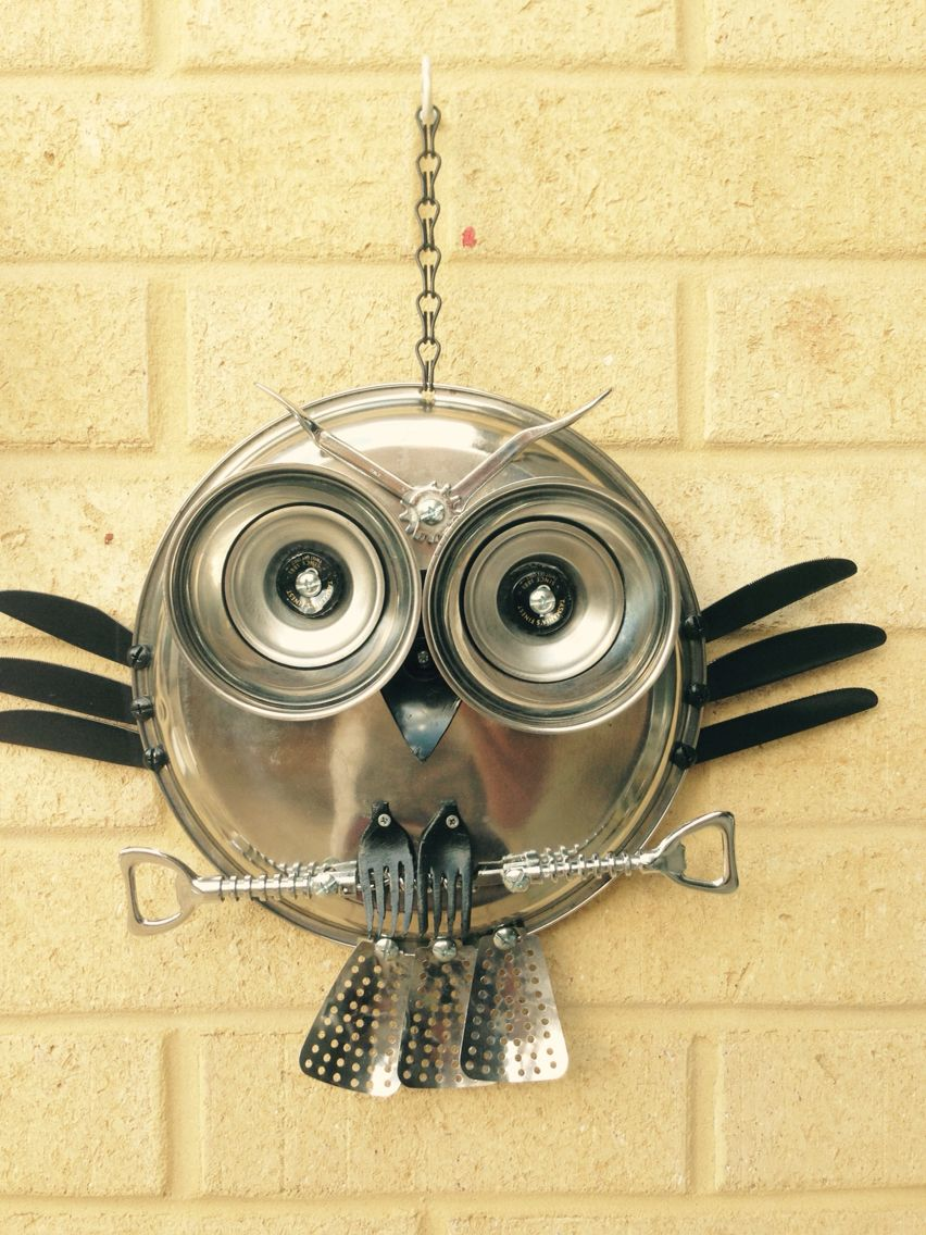 Garden owl made from recycled material   GEMS   Pinterest   Owl and ...