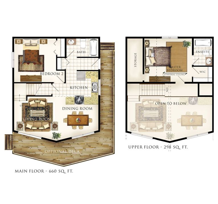 Another cabin idea except turn the master bedroom into for Small master bedroom plan