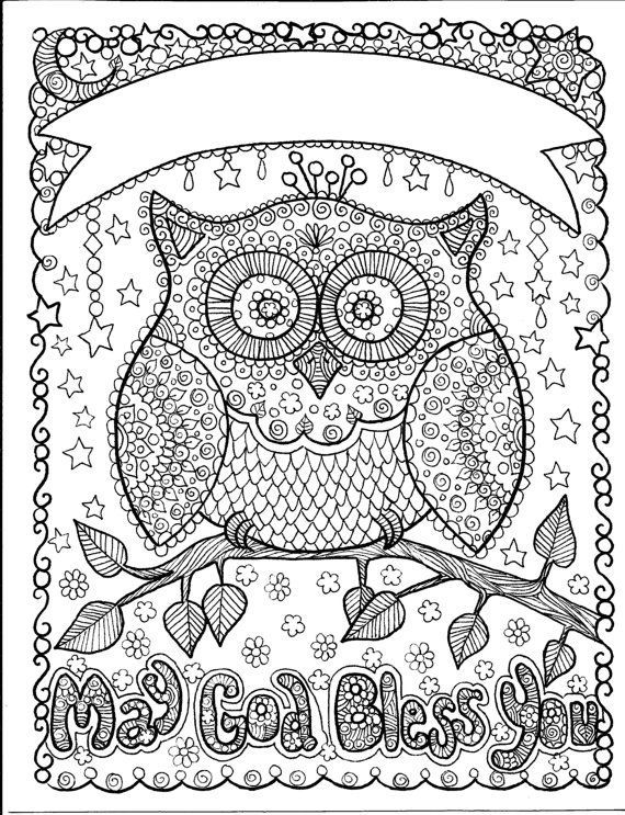 owl may god bless you art to color and hang makes by chubbymermaid