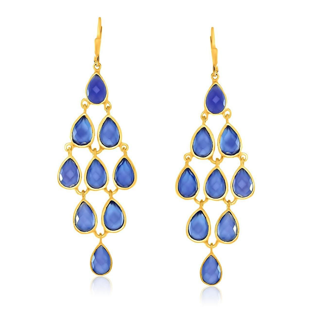 Sterling Silver Yellow Gold Plated Cascading Teardrop Blue Chalcedony Earrings