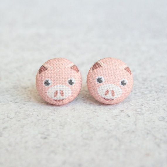 Awesome Etsy listing at https://www.etsy.com/pt/listing/225938766/pink-pig-fabric-covered-button-earrings