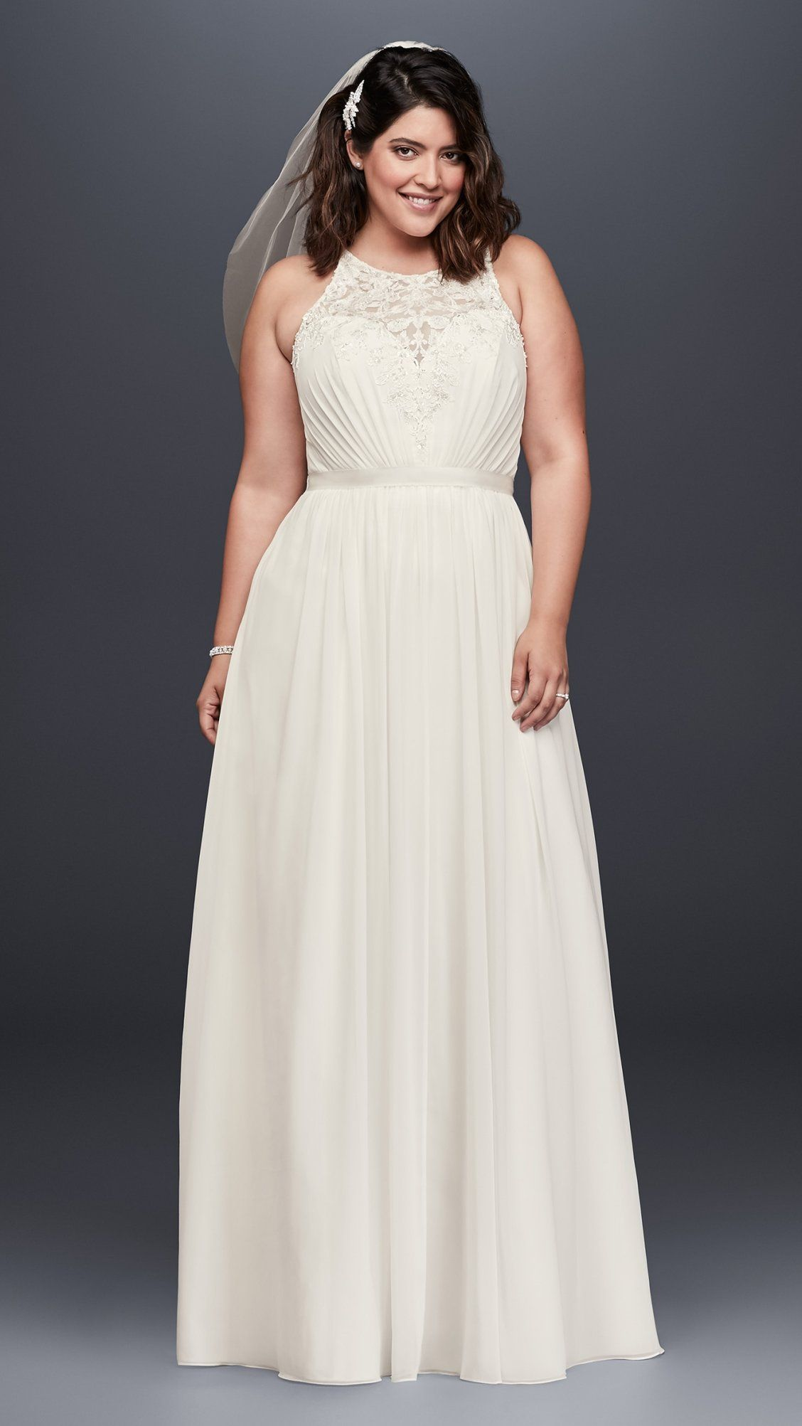 Beaded Chiffon Halter Plus Size Wedding Dress David S Bridal Halter Wedding Dress Davids Bridal Wedding Dresses Plus Size Wedding Gowns
