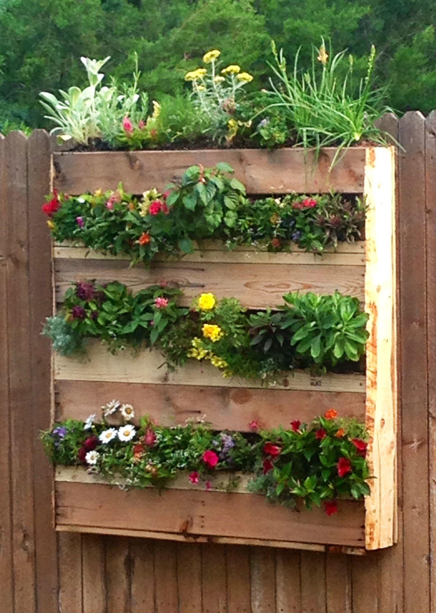 Vertical Pallet Flower Box Garden. Added Landscape Fabric