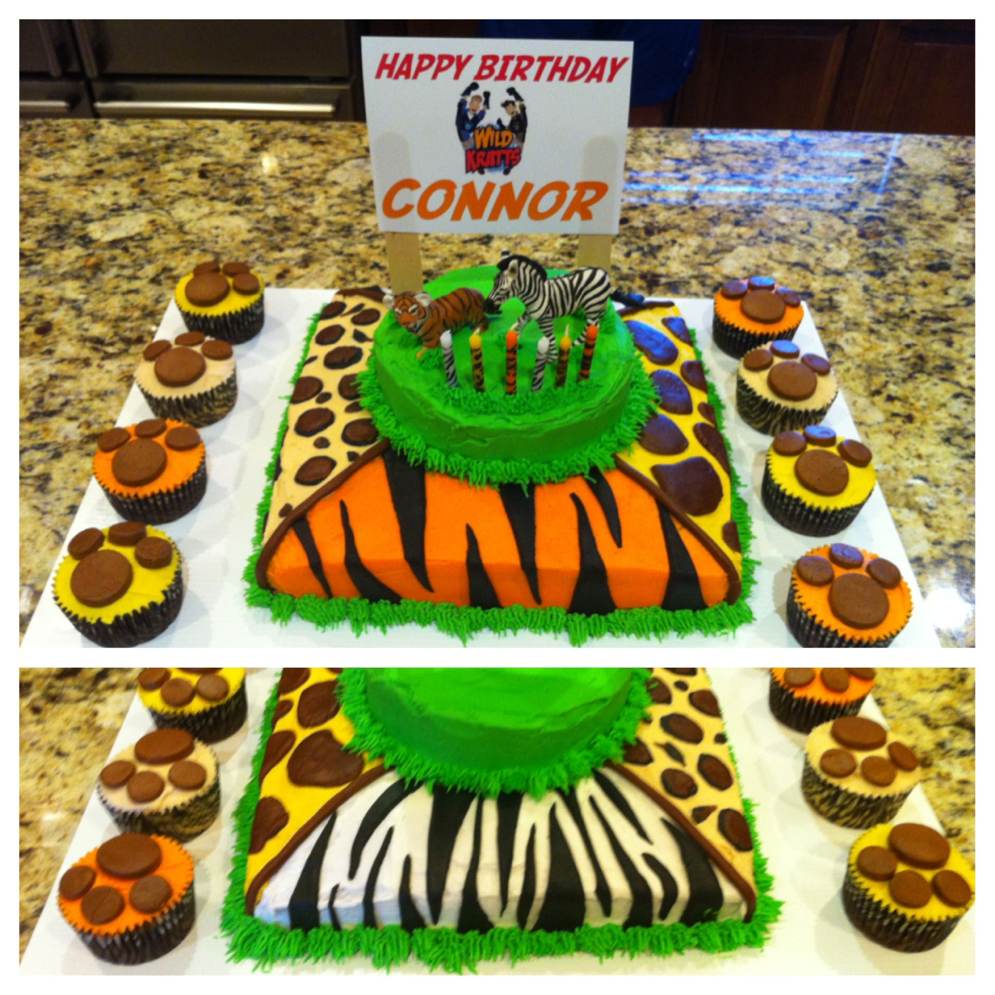 Connors 6th Birthdaywild Kratts Cake Zebra Leopard Tiger