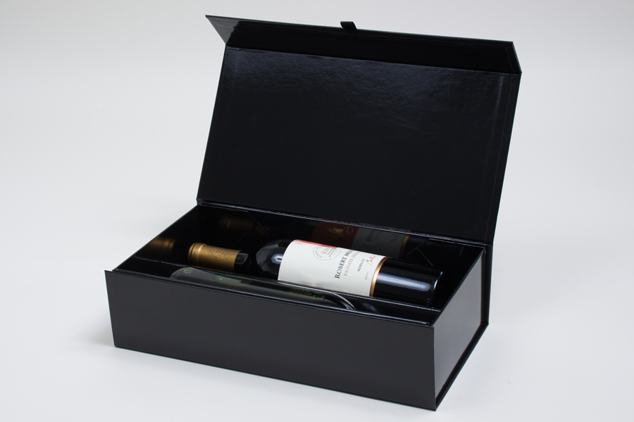13 1 2 X 7 X 3 1 2 Black Gloss Magnetic Double Wine Bottle Box In 2020 Magnetic Gift Box Wine Bottle Box Wine Bottle Packaging