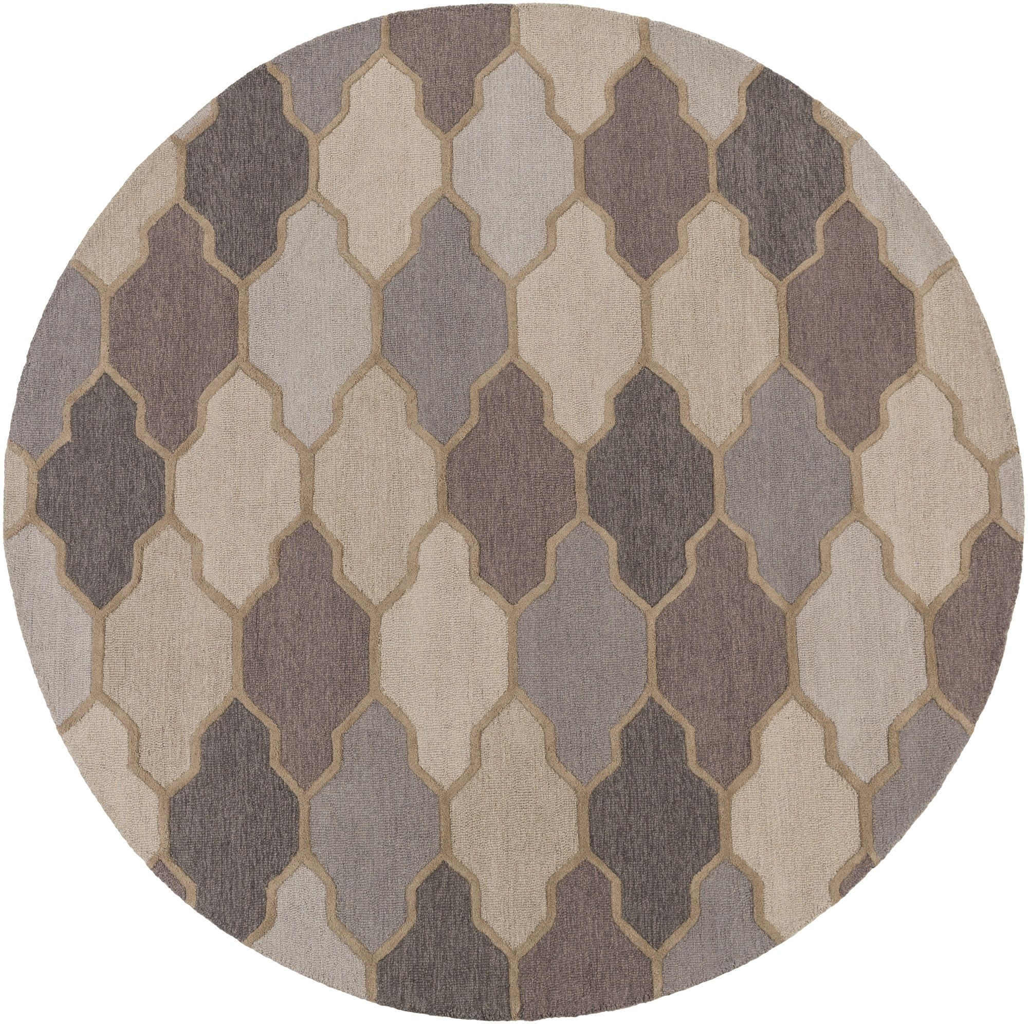 3.5' Trellis Patterned Gray and Brown Hand Tufted Round Area Throw Rug