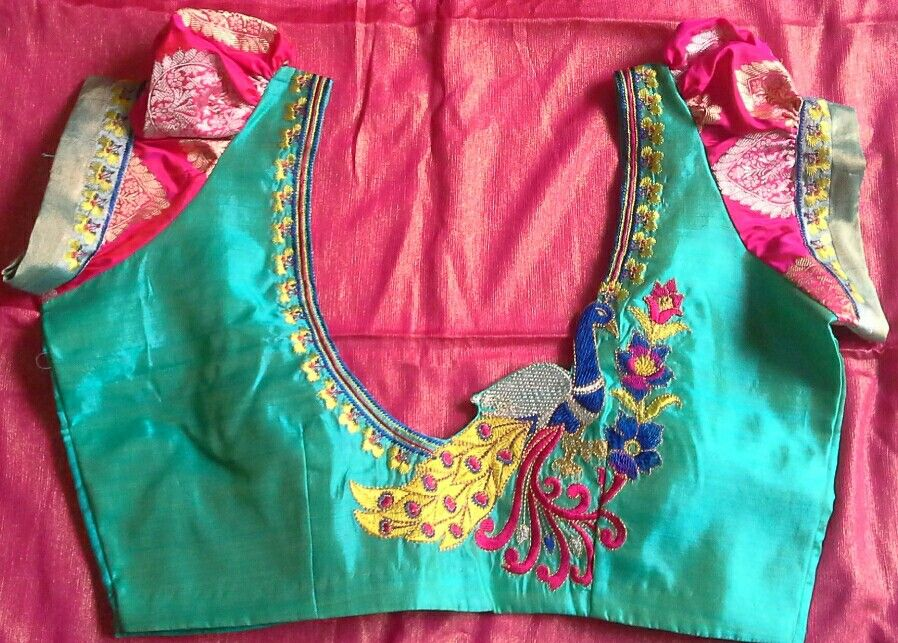 Pattu Blouse Wit Banaras Puff Sleeves And Thread Embroidery 7702919644 | Blouse Designs ...
