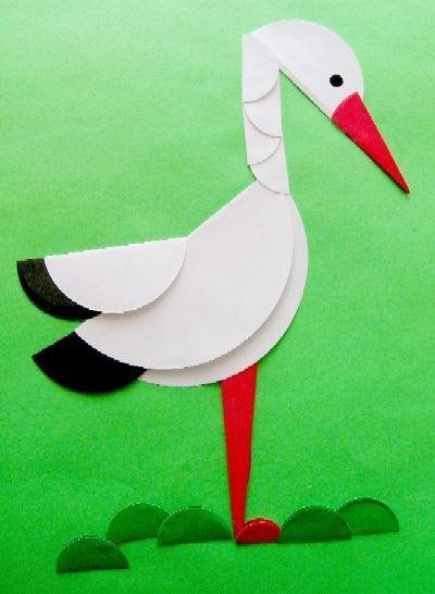 Summer Crafts Kids Can Make In The Kindergarten And At Home Appliques BIRDS