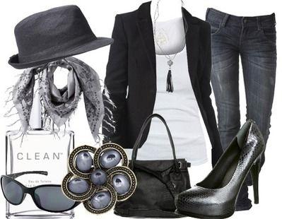 Black skinny jeans, white tank top, black blazer, gray marble scarf, black fedora.