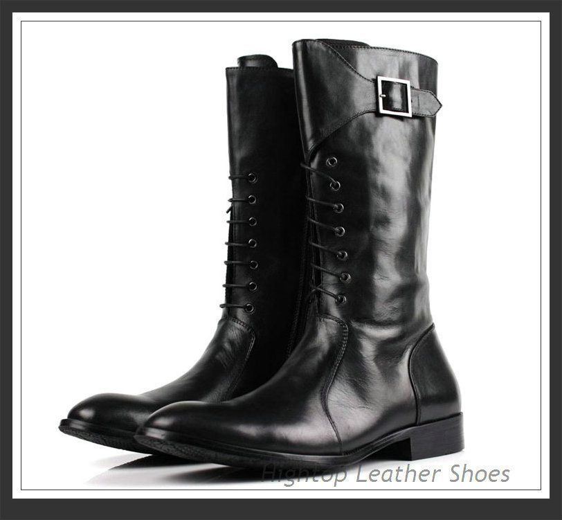 New arrival men's knee high boots genuine leather cowhide leather ...