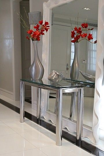 Columns Clear Server Console Table Modern Furniture Home Decor