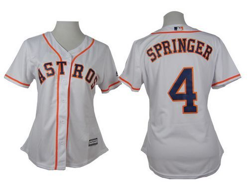 newest collection 2090f fd146 Astros #4 George Springer White Home Women's Stitched ...