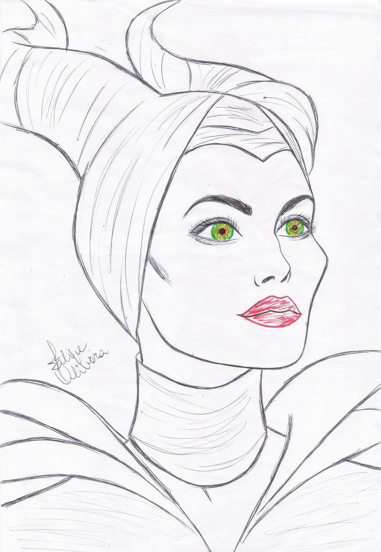 how to draw angelina jolie as maleficent step