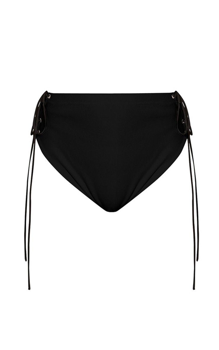 Lucha Black Ribbed Jersey Co-Ord Bottoms Image 3