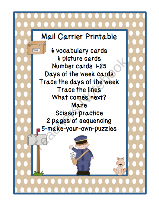 mail carrier activities for preschool mail carrier printable from preschool printables on 33061