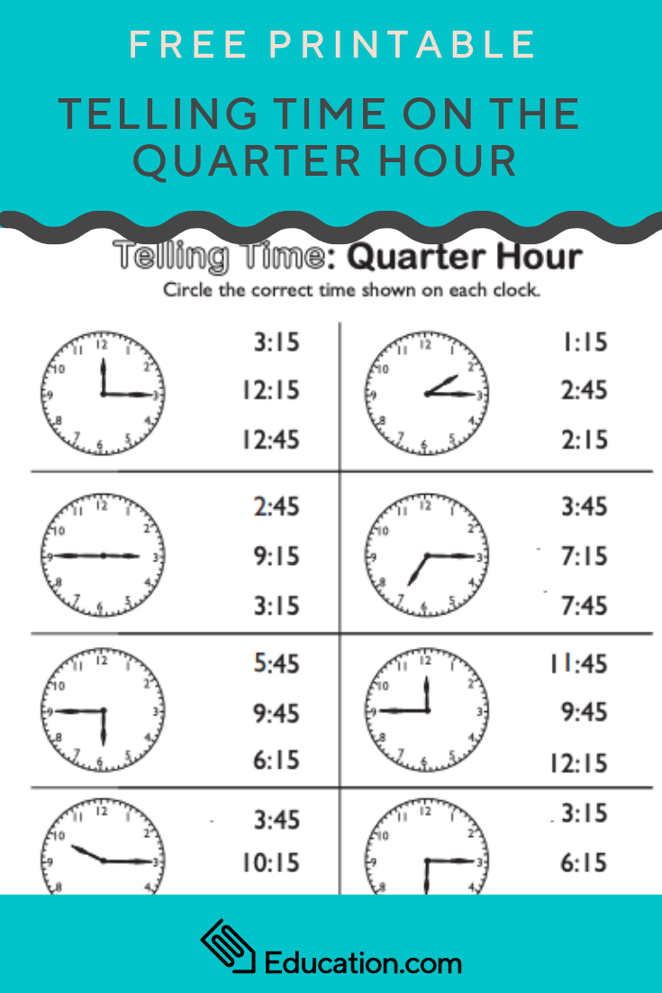 Telling Time On The Quarter Hour Match It Worksheet Education Com Telling Time Worksheets Time Worksheets Telling Time Activities [ 1102 x 735 Pixel ]
