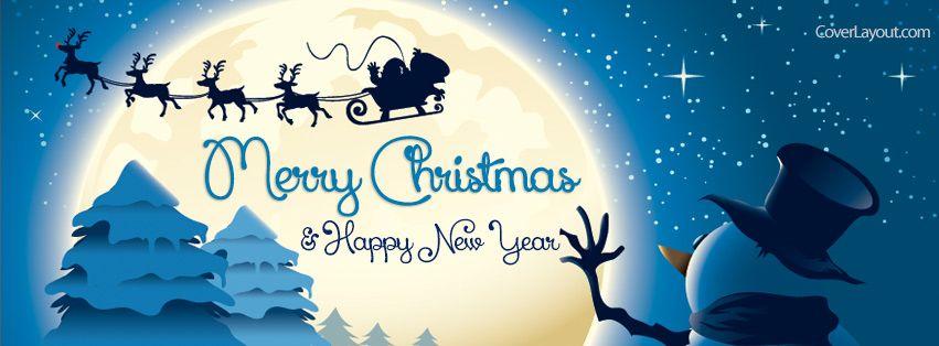 Snowman Santa Ride Merry Christmas New Year Facebook Cover ...