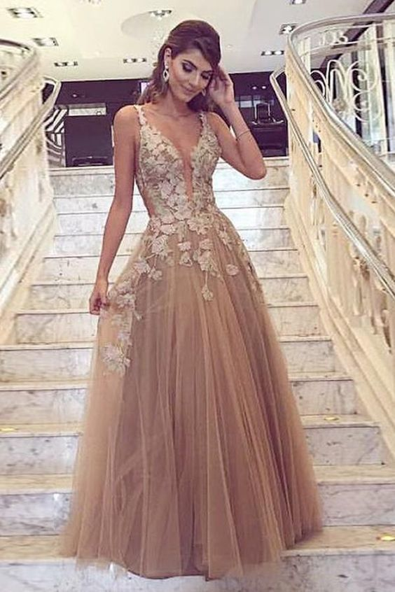 1bc1f5fbf54 A-Line Deep V-Neck Tulle Prom Dress with Appliques by RosyProm