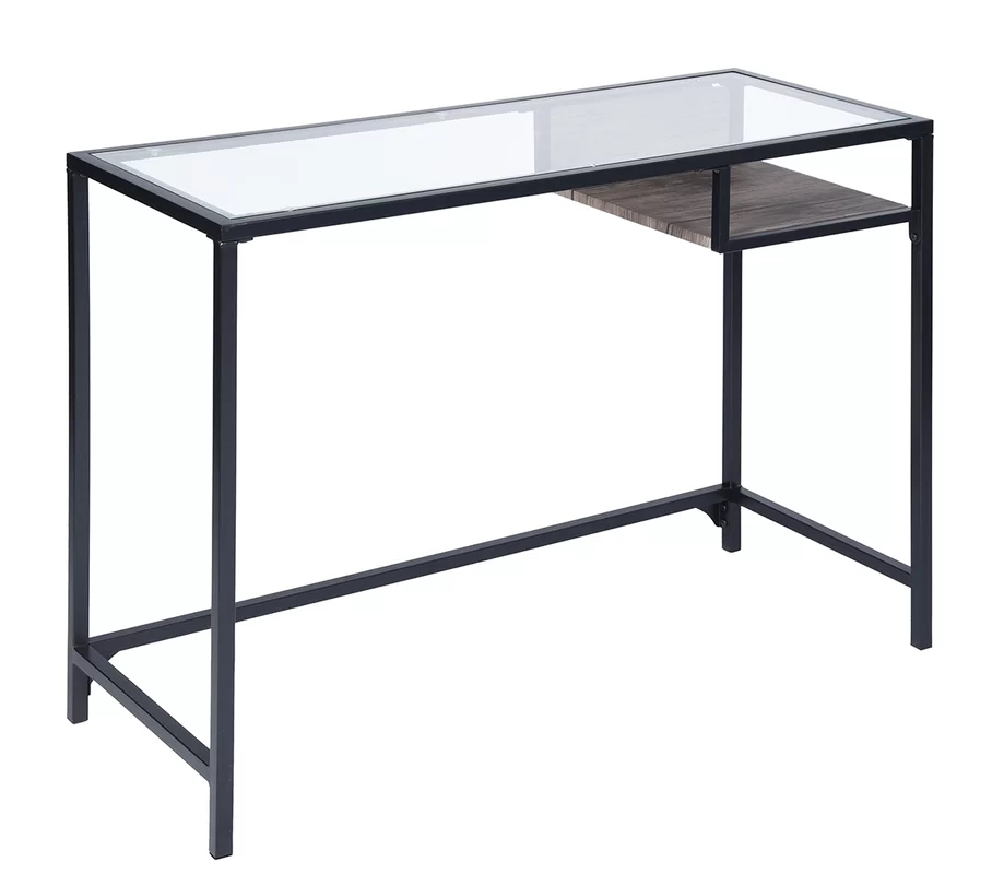 Latitude Run Ormside Glass Desk Glass Desk Wood Metal Desk Glass Top Desk