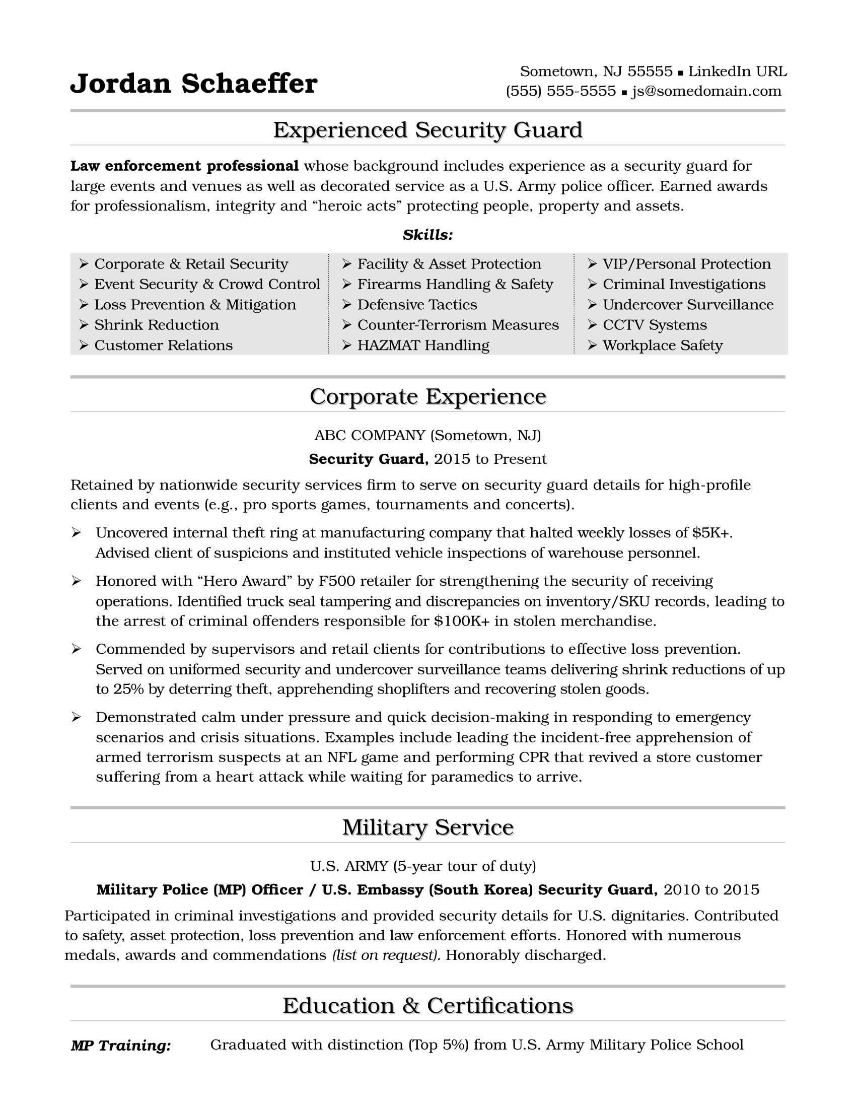 Resume Sample For Experienced Entrancing Security Guard Resume Sample  Sample Resume And Career Advice