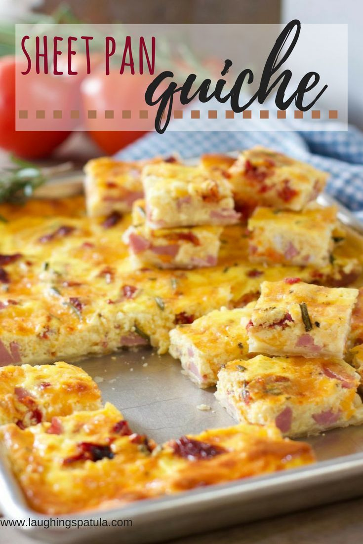 This super easy Sheet Pan Quiche will feed a crowd! You can serve as a warm breakfast or brunch or chill and cut into cubes as an appetizer!