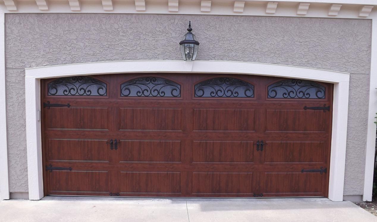 Clopay Gallery Garage Door Ultra Grain Dark Oak Wrought Iron