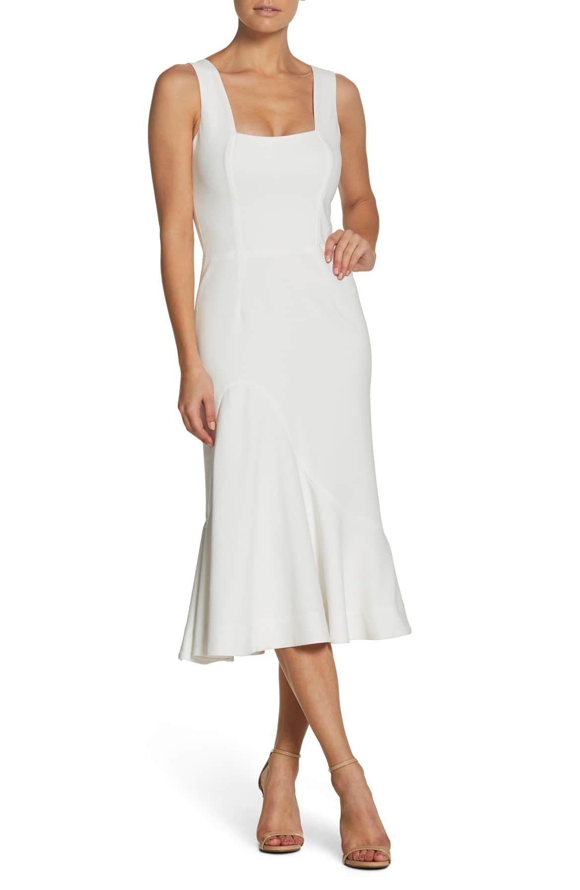 2e9b3dc3dc9c Monica Tea Length Trumpet Dress, Main, color, OFF WHITE | LWD ...