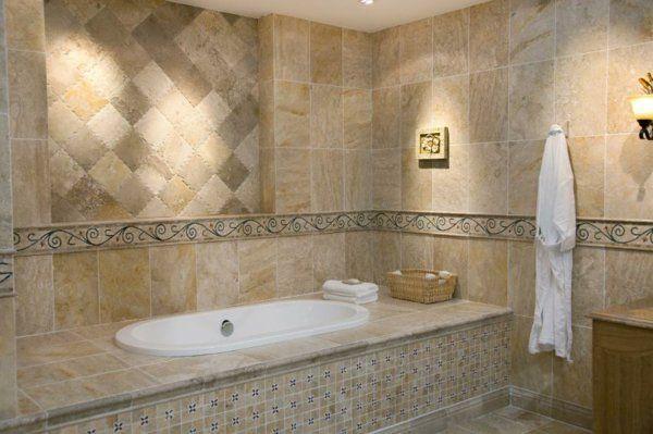 Wunderbar Badewanne Fliesen Fliesenmuster Badezimmer Wandfliesen Beige Holzoptik