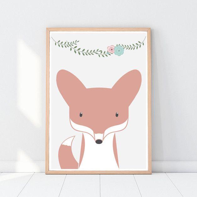 Fuchs Poster für Kinder, Kinderzimmer Bild, A3