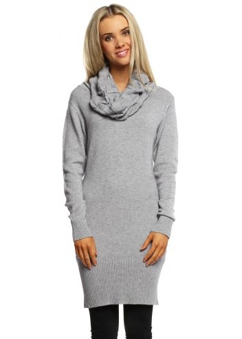 3efe2058906 Grey Cable Knit Polo Neck Jumper Dress